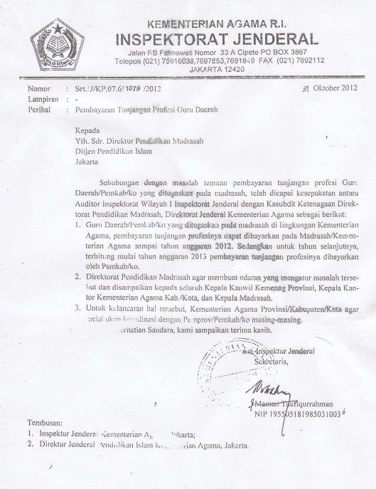 pembatalan Pembayaran tunj sertifikasi nip 13