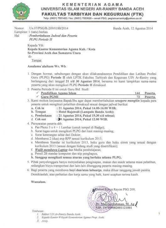 Surat Panggilan Peserta PLPG Periode II