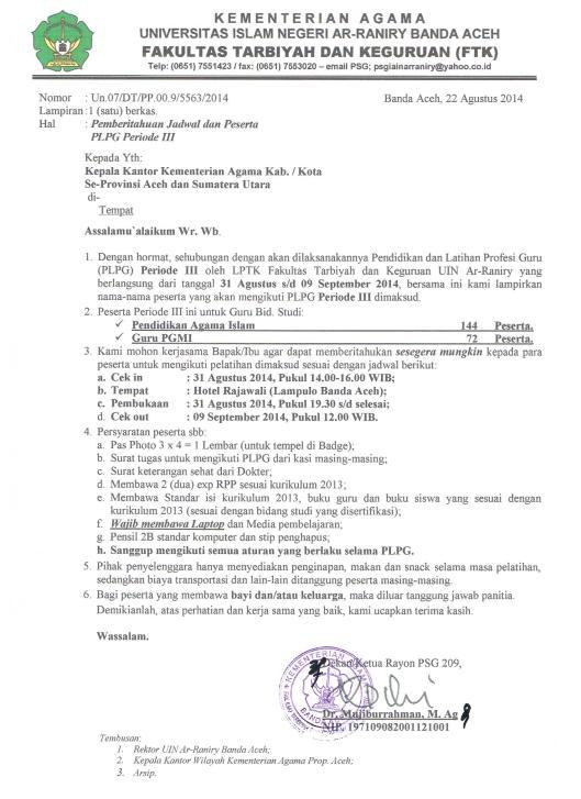 Surat Panggilan Peserta PLPG Periode III