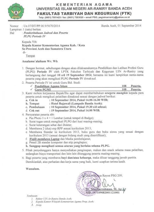 Surat Panggilan Peserta PLPG Periode IV