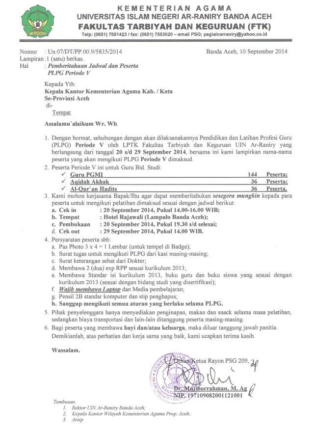 Surat Panggilan Peserta PLPG Periode V
