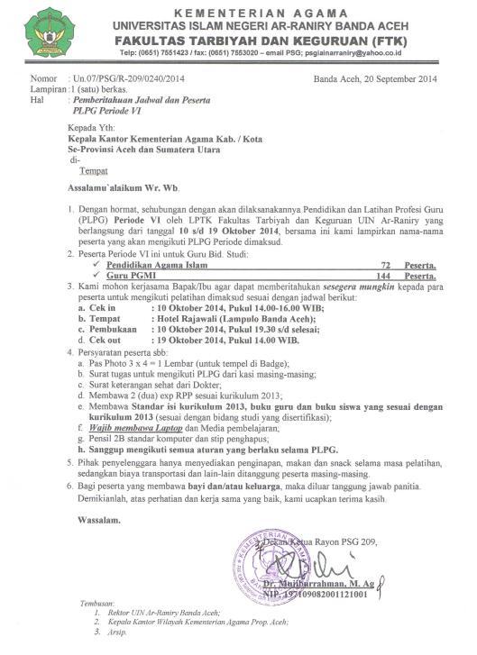 Surat Panggilan Peserta PLPG Periode VI