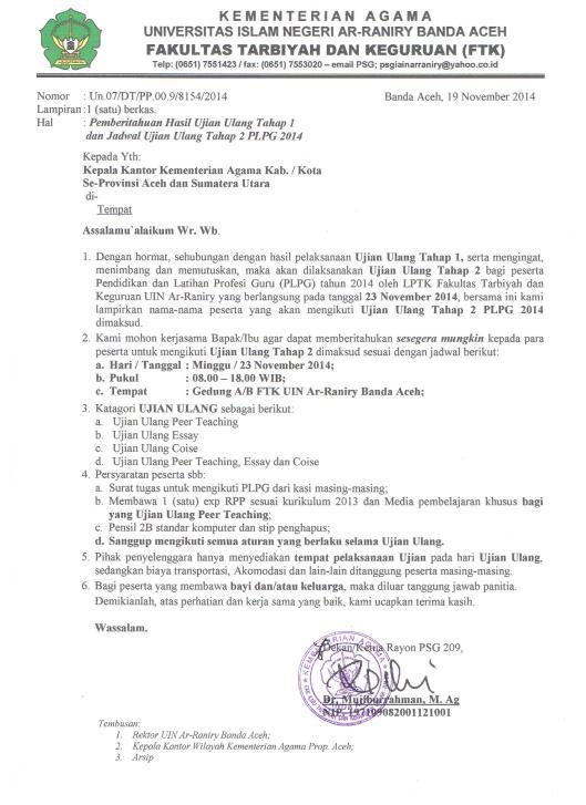 Surat Ujian Ulang Tahap II