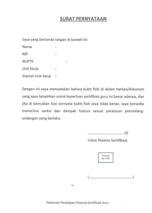 8. Surat Pernyataan Peserta