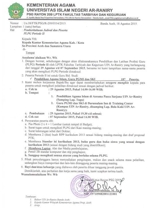 Surat Panggilan Peserta PLPG 2