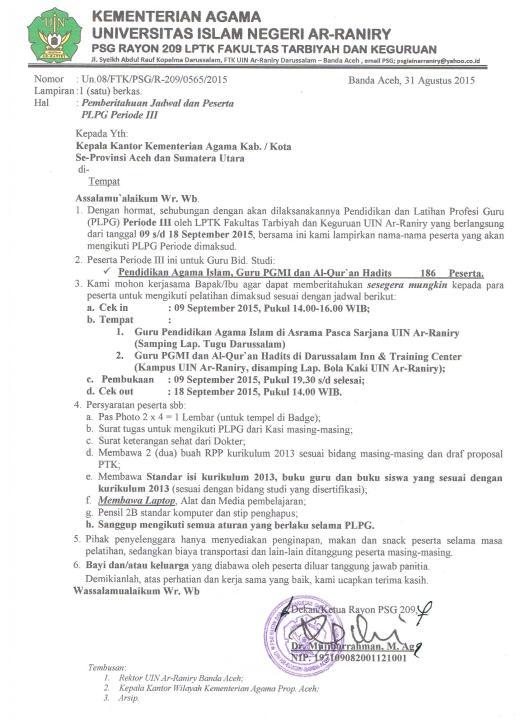 Surat Panggilan Peserta PLPG 3
