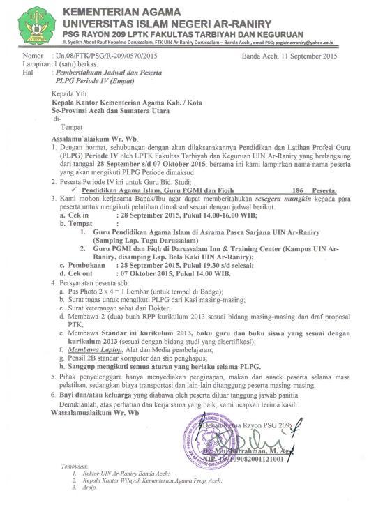 Surat Panggilan Peserta PLPG 4