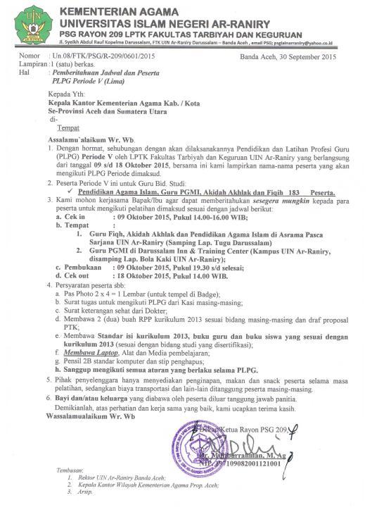 Surat Pmeberitahuan Jadwal PLPG Angkatan V